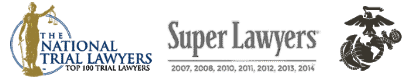 logos for nation trial lawyers, super lawyers, and united state marine corps